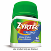 Save $6.00 when you buy ONE (1) Adult ZYRTEC® product, any variety (70ct). Exclud...